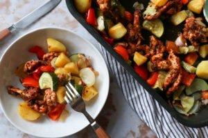 Traybake met gyros en groente